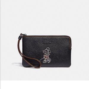 Coach x Mickey Mouse black wristlet NWT